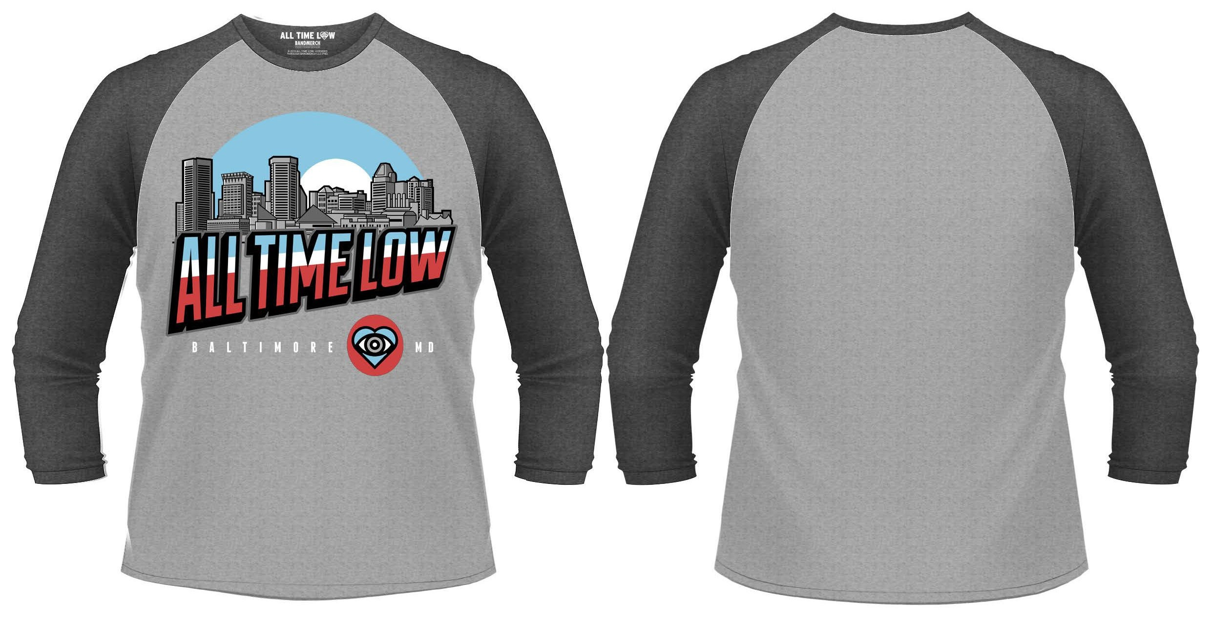 homme neuf 3//4 t-shirt All time low-baltimore